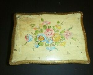 Vintage Toleware Florentine Italy Gilded Wood Hinged Box with Flowers Gold