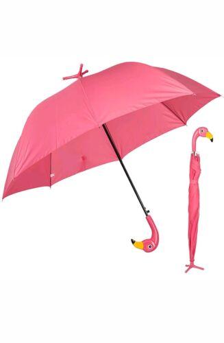 Large Bird Standing Automatic Open Pink Flamingo Umbrella