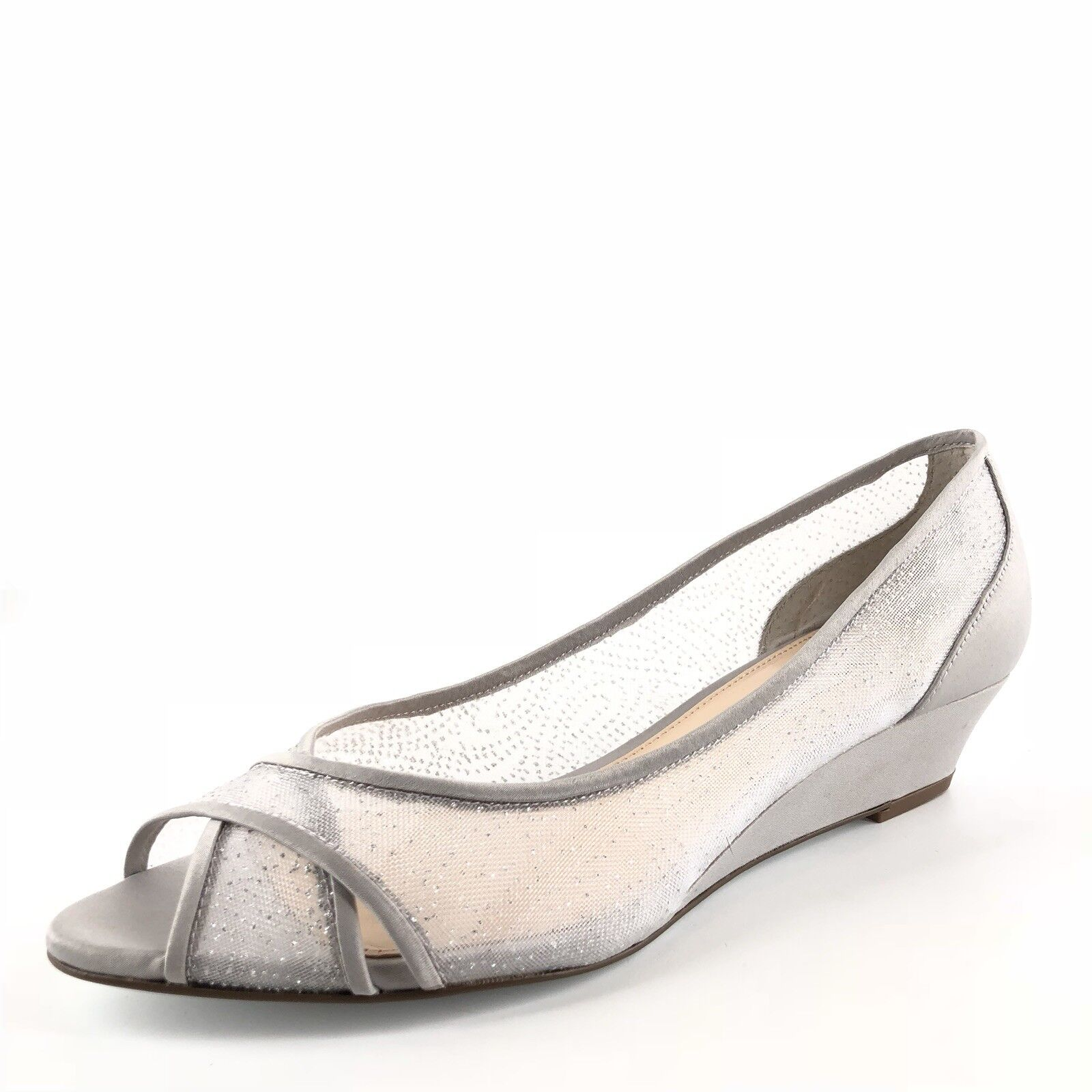 Nina Women's Rigby Silver Satin Slip On Wedge Pumps Open Toe  Size 8.5 M
