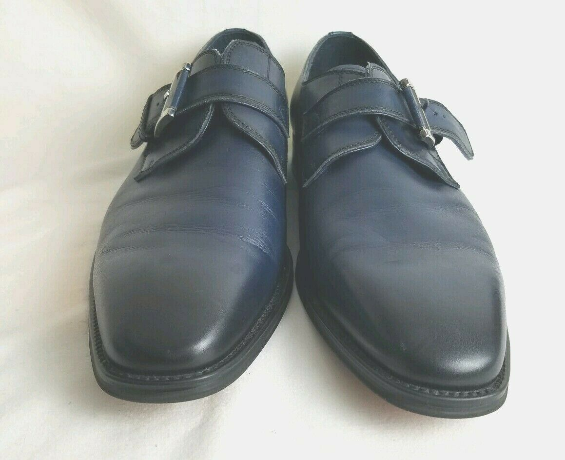 JUMP NEWYORK Mens Dress Casual Shoes Size 8 navy blue w/ black tip strap buckle