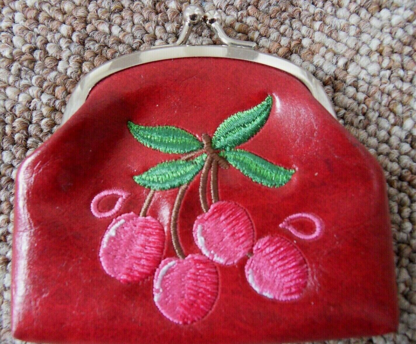 Lavishy Vegan Ladies Leather Coin Wallet clutch Embroidered Cherries Design