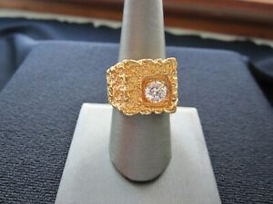 unmarked ring, Cz diamond ring free shipping size 10 ring gold tone cz ring