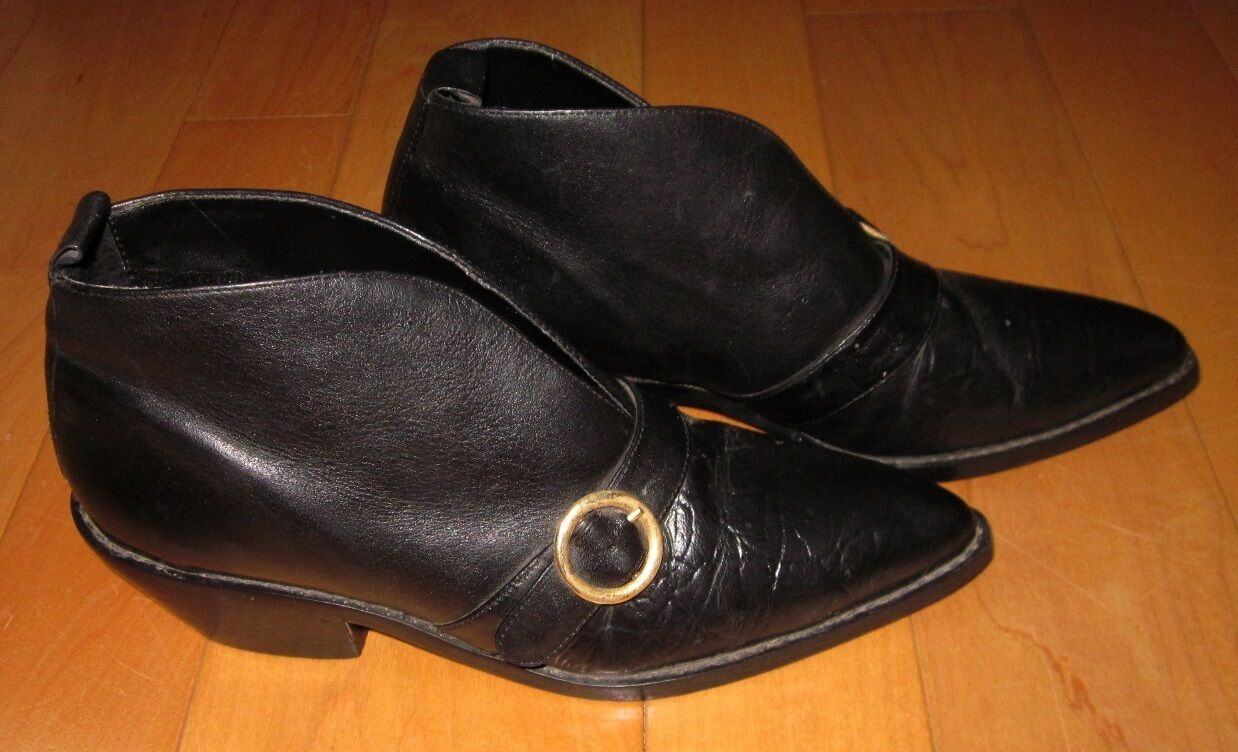 Studio Line Wms Black Leather Western Ankle Shoe Boot 6.5