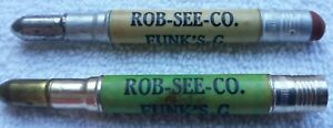 Rare-Antique-Vintage-Rob-See-Co-Funk-039-s-G-Hybrid-Bullet-Pencil-Lot-of-2