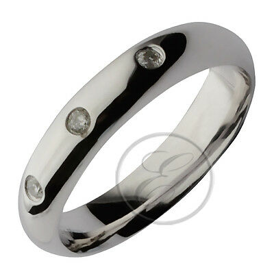 9ct Hollow White Gold Court Diamond Wedding Ring 4mm