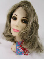 Vtg Wig Long Brown Hair W Silver Gray Highlights & Box Usa Elura 312-723