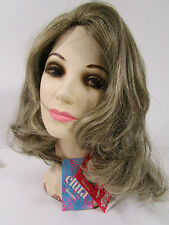 VTG Wig LONG Brown Hair w Silver Gray Highlights NWT & Box USA ELURA #312-723