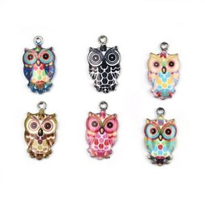 Alloy-Cute-Owl-Oil-Drip-5pcs-Charms-Pendants-DIY-Craft-Necklace-Jewelry-Findings