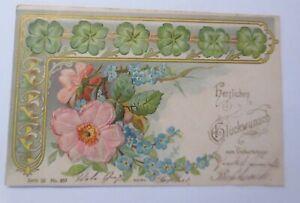 Geburtstag-Blumen-Kleeblatt-Rosen-Jugendstil-1903-Praegekarte