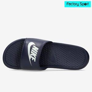 Detalles de Nike Benassi JDI azul marino chanclas de pala para hombre
