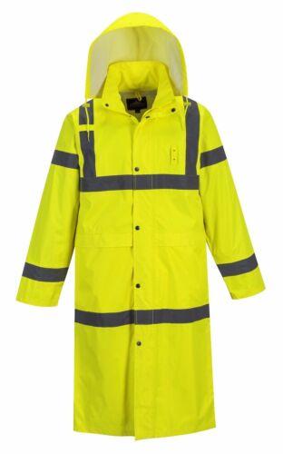 PORTWEST H445 yellow rain hi-vis waterproof 122cm long coat size small-5XL