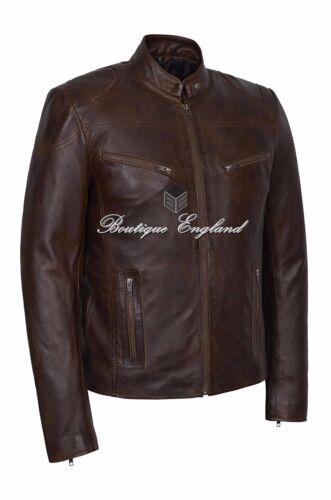 /'SPEED/' Men/'s Wood Cool Retro Biker Style Real Lambskin Leather Jacket SR-02