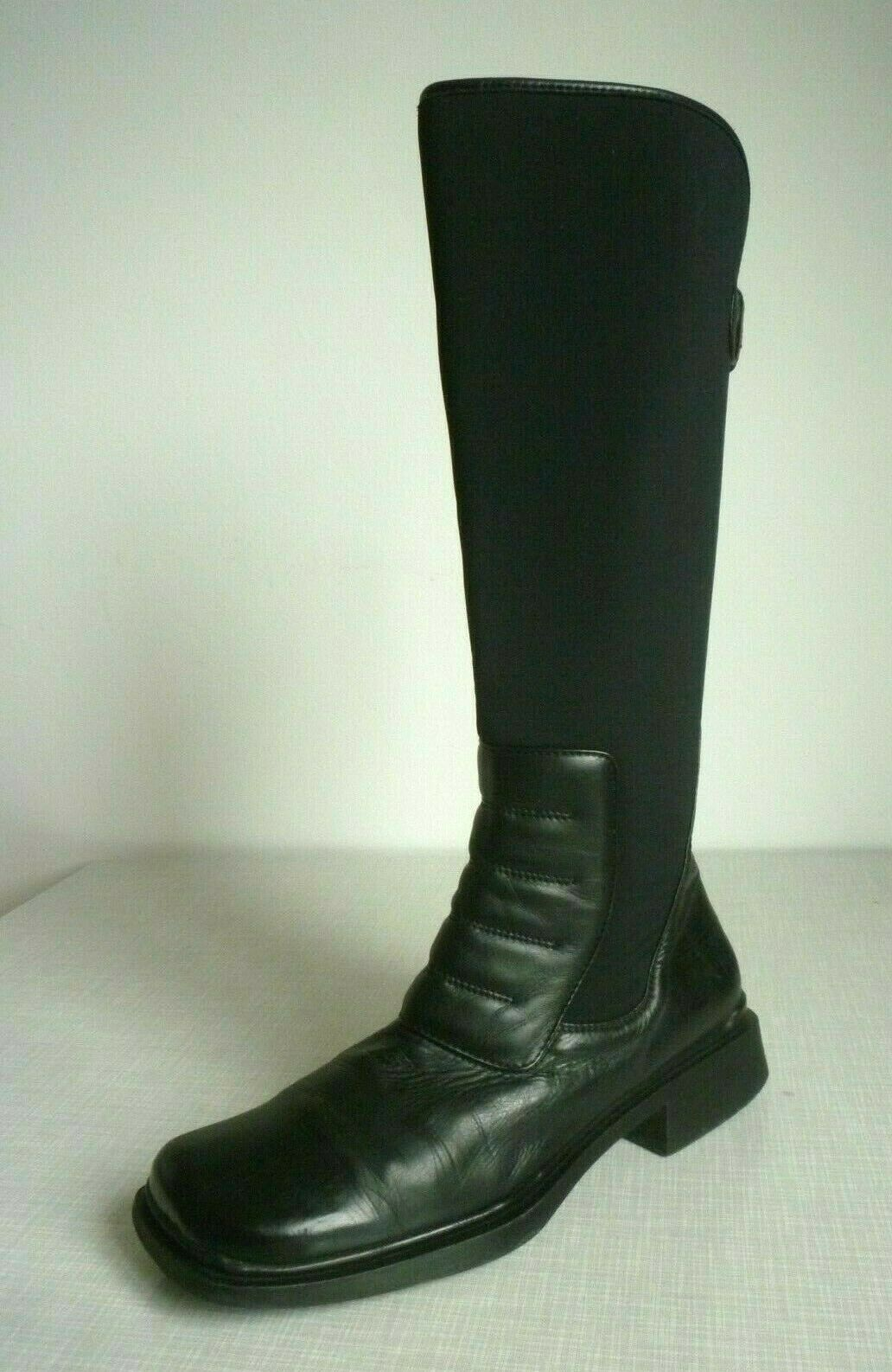 Echt Leder Schaftstiefel schwarz Langschaft Stiefel Elastikschaft Vintage 40 TOP