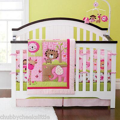 New 4pcs baby girl Crib Cot Bedding Set Quilt Bumper Sheet Dust Ruffle