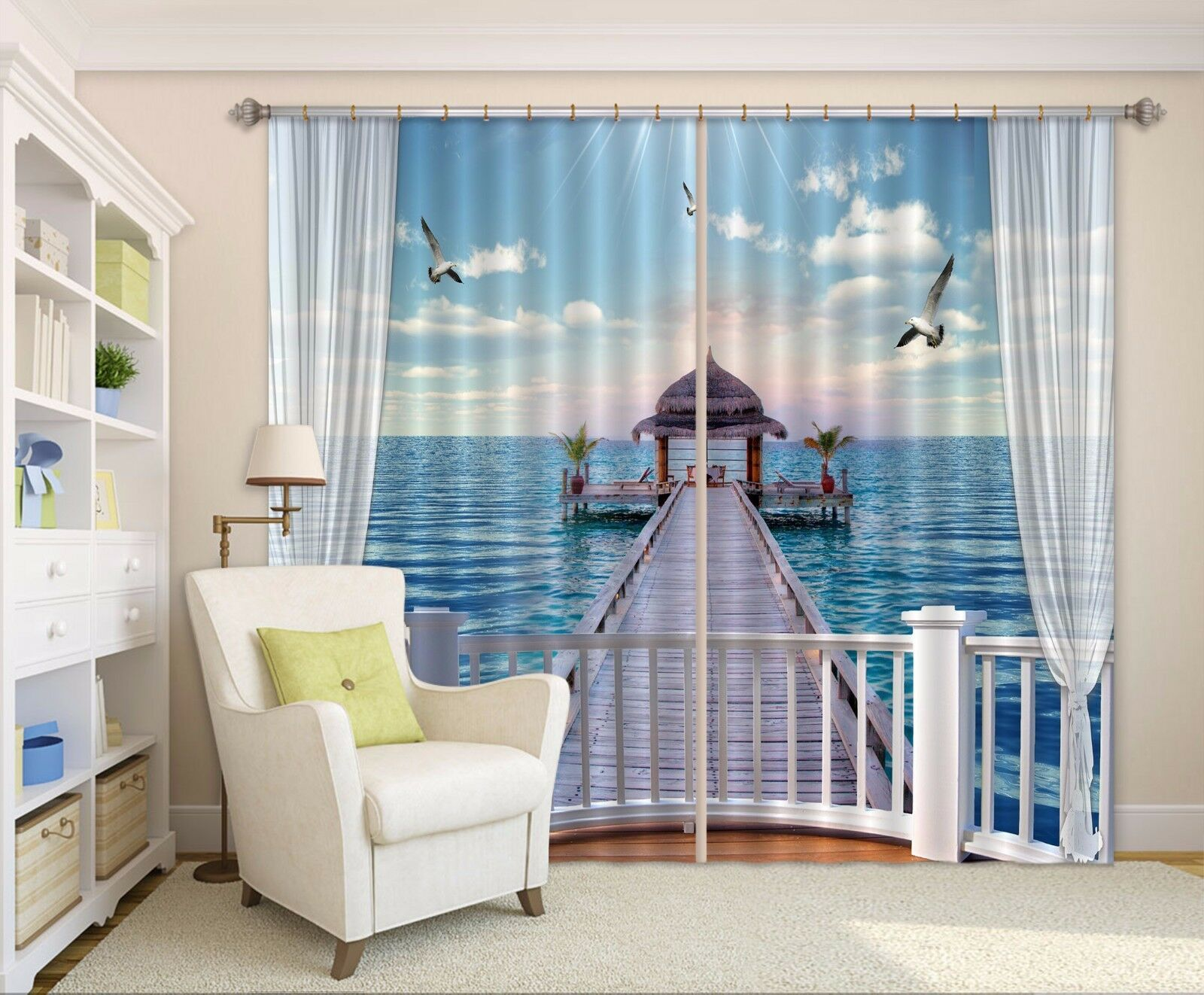 3D Sea Bridge Balcony 6 Blockout Photo Curtain Curtains Drapes Fabric Window CA