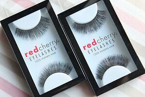 2x-Red-Cherry-RYDER-117-falsche-kuenstliche-Echthaar-Wimpern-schwarz-strip-lash