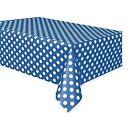 Plastic Royal Blue Polka Dot Tablecloth 7ft X 4.5ft