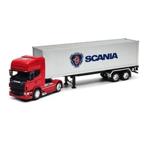 Welly-1-32-DIE-CAST-SCANIA-V8-R730-Trattore-rimorchio-container-camion-rosso-Modello-Giocattolo