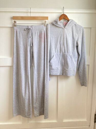 Juicy Couture Tracksuit Gray Velour 2 Piece Hoodie