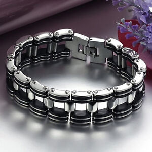 Sale-Men-Silver-Stainless-Steel-Black-Rubber-Motorcycle-Biker-Chain-Bracelet
