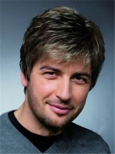 Fashion-New-Men-039-s-Man-Short-Brown-Mixed-Cosplay-Natural-Hair-Wigs-Wig-Hot