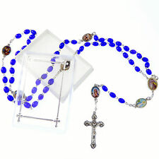 Catholic dark blue glass rosary beads necklace in box images of Our Lady paters