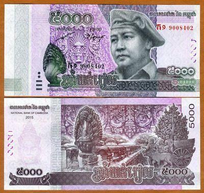 Lot 5 PCS CAMBODIA 100 RIELS 2014//2015 MONK BUDDHA Norodom P-NEW UNC