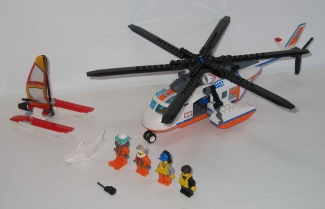60013 Lego Coast Guard Helicopter 100 Complete No Instructions Ex
