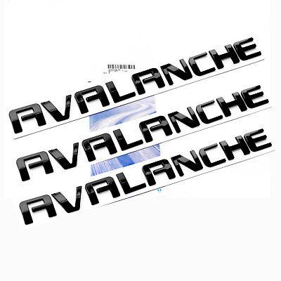 3x OEM Black AVALANCHE Nameplate EMBLEMS Letter for GM Chevrolet  new d UW