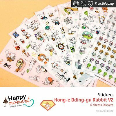Hong-e Dding-gu Rabbit V2 Stickers For Diary Day Planner & Organizer 6 sheets