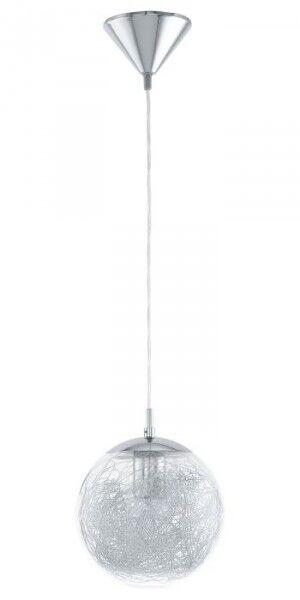 Lampada a sospensione design moderno globo acciaio cromo vetro alluminio 61779