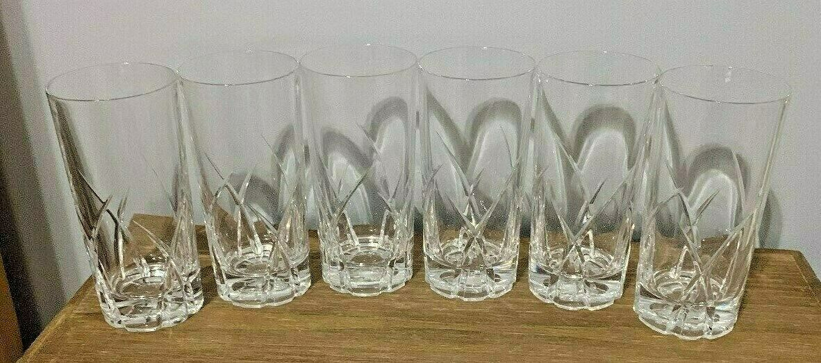 Vintage Clear Crystal Highball Glasses Drink Set 6 Glassware Kitchen Dining  Bar