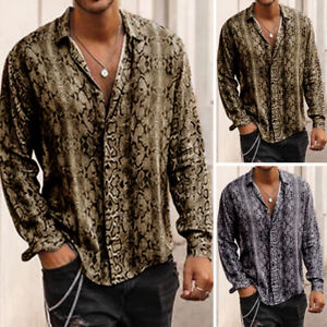 Men-039-s-Slim-Fit-Long-Sleeve-Leopard-Printed-Shirt-Casual-Party-Collar-Tops-Blouse
