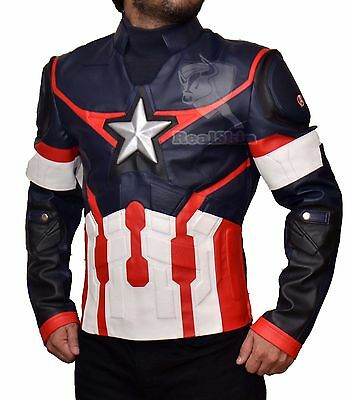 Age of Ultron Captain America Civil War Chris Evans Avengers Leather Jacket