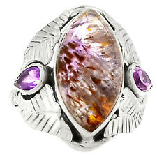 Cacoxenite Super Seven Mineral Melody Stone 925 Silver Ring s.8.5 RR40307