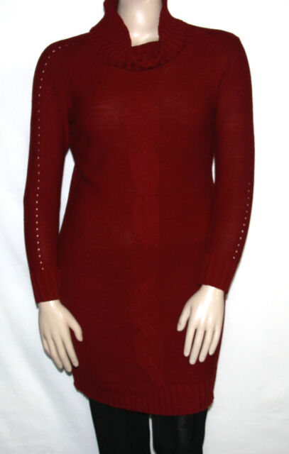 f94c7e14ad NEW Lennie for Nina Leonard SIZE LARGE Cable Knit Cowl Neck Sweater Dress  RED