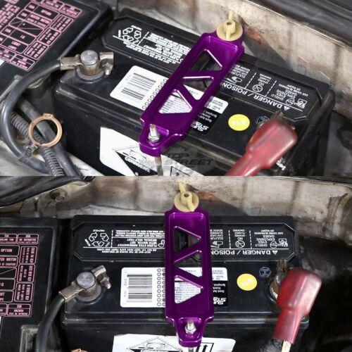 """170MM PURPLE BILLET ALUMINUM CAR /< 5.13/""""BATTERY TIE DOWN MOUNT BRACKET BRACE KIT"""