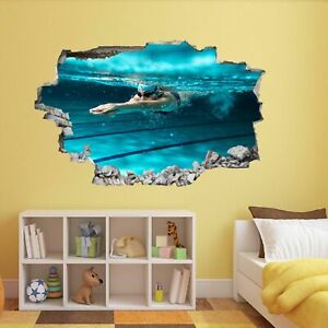 Details about Swimmer Swimming Pool Wall Sticker Mural Decal Kids Bedroom  Home Decor BK27