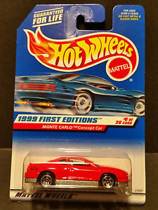 Hot Wheels Monte Carlo Concept Car 1999 First Editions #6 Variation 910 5sp Red