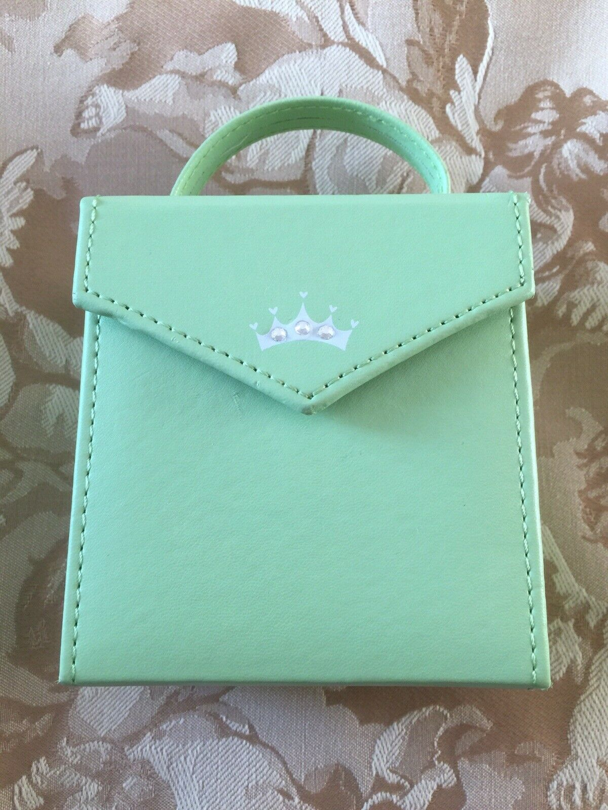 Hallmark Lime Green Top Handle Jewelry Travel Case Crown Design Front New Unused