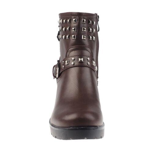 5005 Damen Stiefel Stiefelette Reißverschluß Lederlook Nieten Schnalle