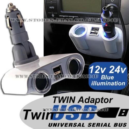 12v 24v 2 Wege Zigarettenanzünder Multistecker Twin USB Ladegerät Adapter Polc36