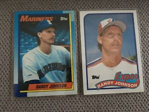 Details About 1989 1990 Topps Randy Johnson Rookie Card 647 483 2 Card Lot