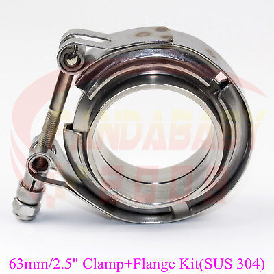 Exhausts Blow-off Valves SANON V Band Clamp Universal 2.5 Inch 63mm V-Band Clamp Turbo Male Flange Downpipe Stainless Exhaust for Turbos Wastegates