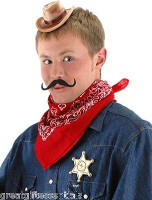 MINI COWBOY COSTUME KIT Hat, Bandana, Mustache, Sheriff Star Badge Adults Kids
