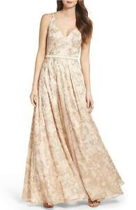 Xscape Embroidered Brocade Fit Flare Ball Gown Dress Sz 4 Ebay