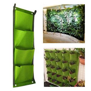 4-Faecher-Vertikal-Pflanzenwand-Pflanzbehaelter-Pflanztasche-Pflanzkorb-Gruen-Neu