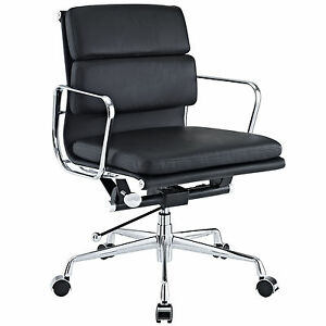 Image is loading Eames-Office-Chair-Soft-Padded-Mid-Low-Back-  sc 1 st  eBay & Eames Office Chair Soft Padded Mid Low Back Reproduction Leather ...