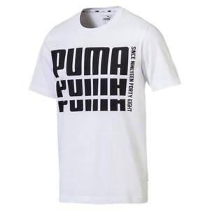 Puma-Rebel-Amplio-Basico-Camiseta-Cuello-Redondo-Blanco-Jogging-Fitness-M-L-XL