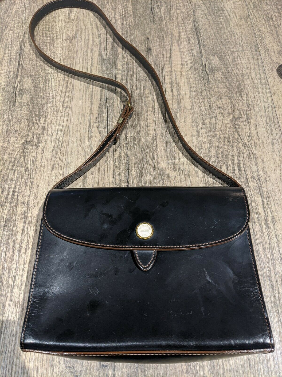 Authentic Marie Claire Black Small Leather Handbag - image 1